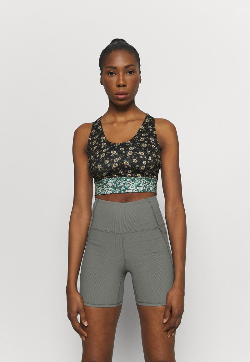 Free People - PRINTED SYNERGY CROP - Light support sports bra - black combo