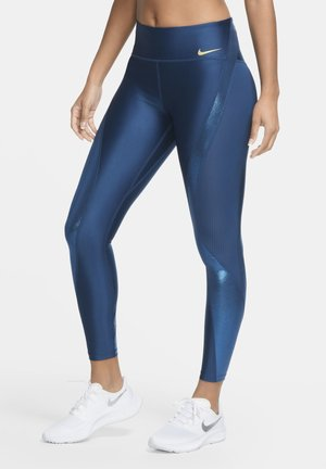CLASH SPEED - Leggings - valerian blue/metallic gold