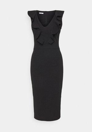 KIRA RUFFLE NECK MIDI DRESS - Jersey dress - black