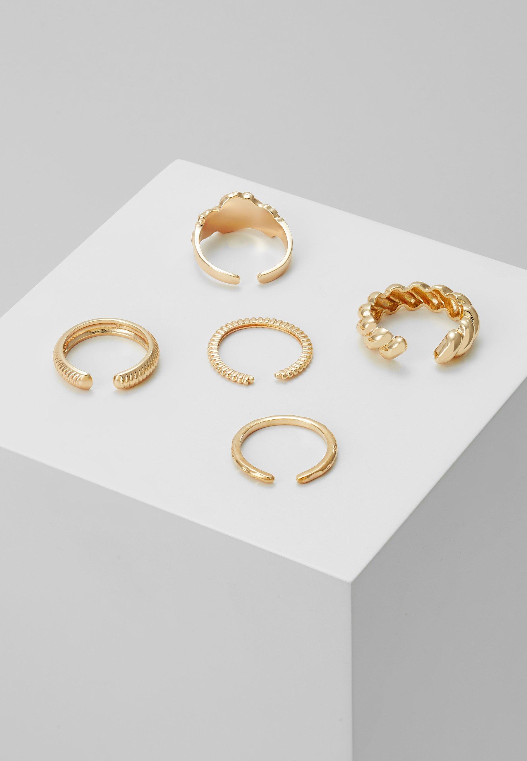 Pieces PCKATRINA 5 PACK - Ring - gold-coloured/gull 2rqp06ENF3u7AZ7