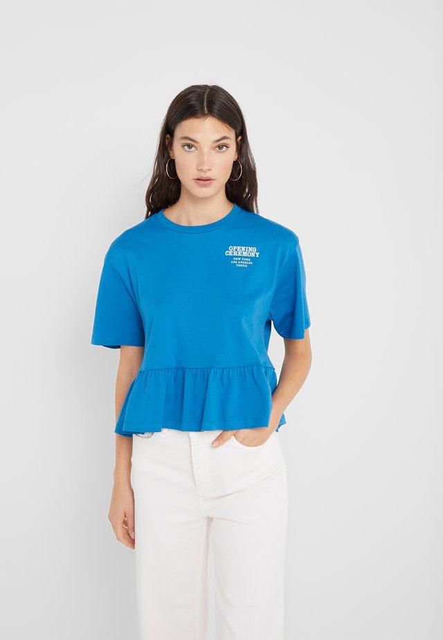 RUFFLE PEPLUM TEE - Print T-shirt - cobalt blue