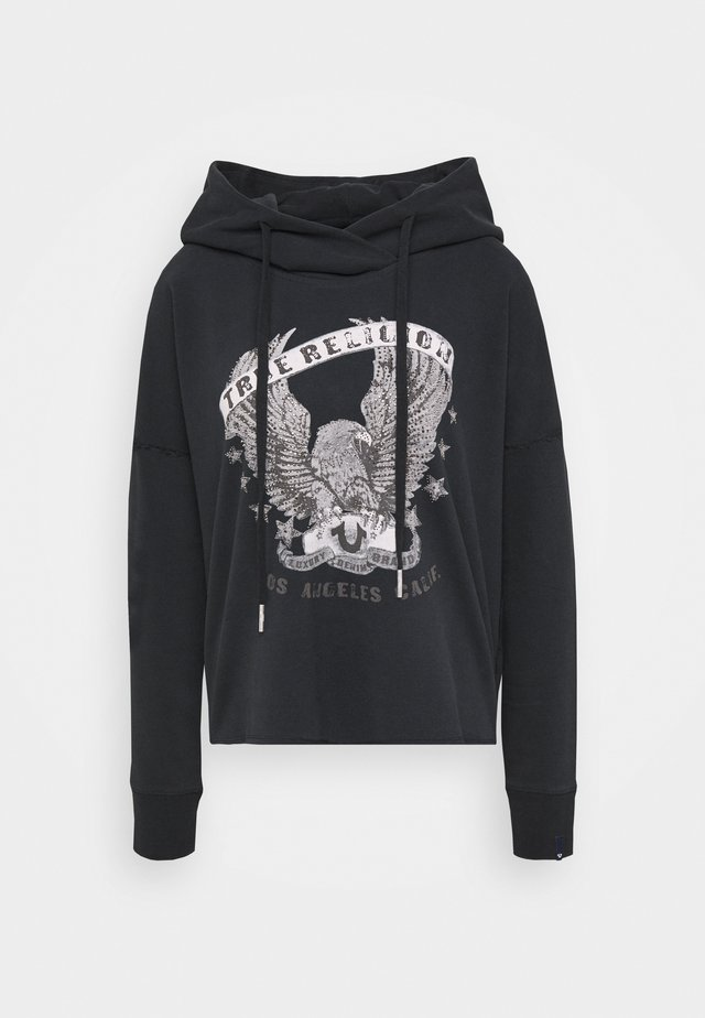 HOODY CROP EAGLE RHINESTONES - Sweat à capuche - black