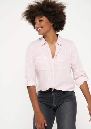 WITH LUREX STRIPES - Button-down blouse - light pink