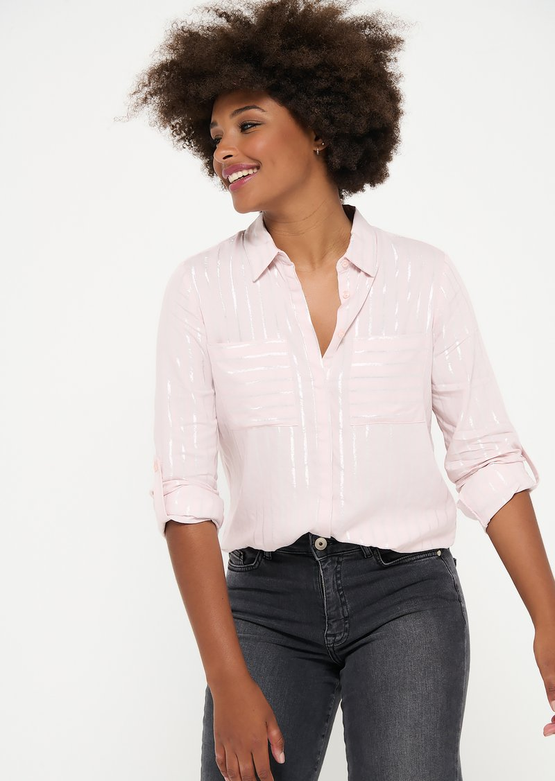LolaLiza - WITH LUREX STRIPES - Button-down blouse - light pink