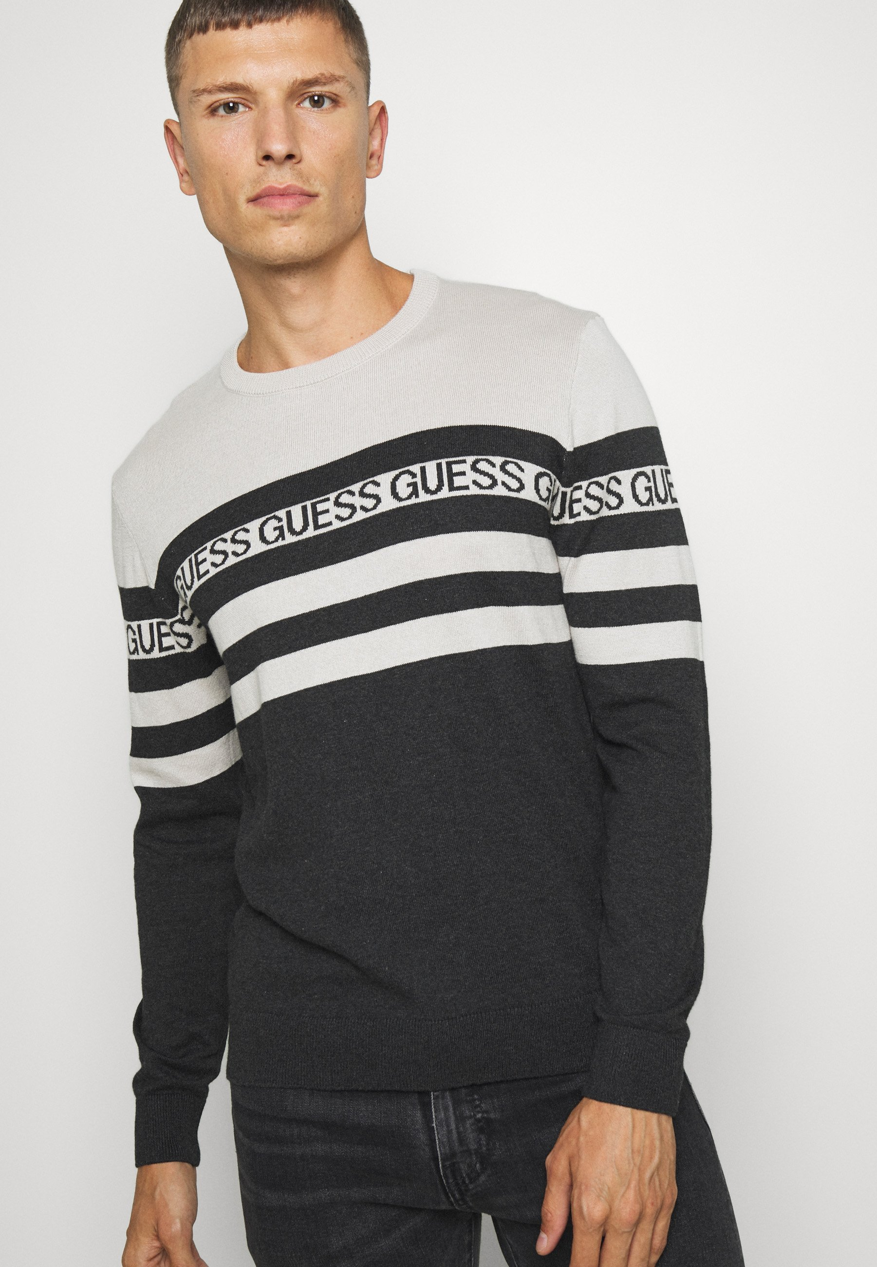 Guess LOGO STRIPED - Pullover - grey
