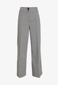 CHECKED CULOTTE - Trousers - black/white/red/grey