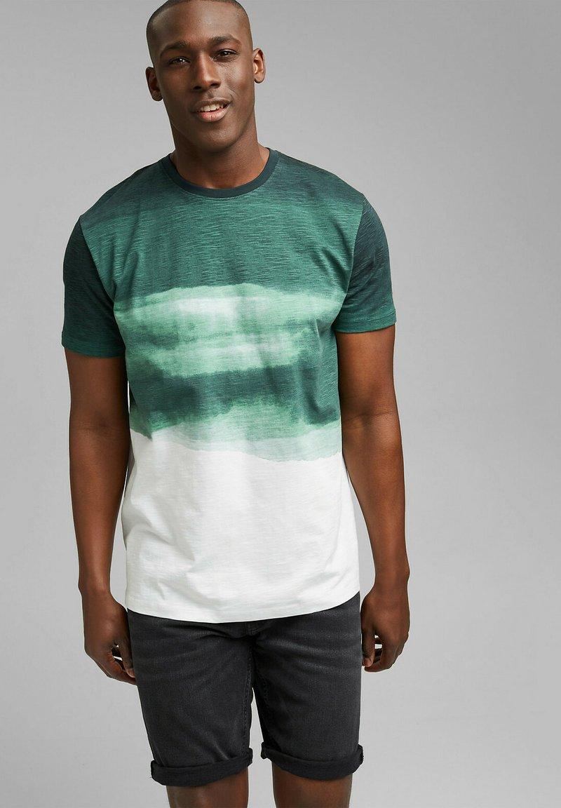 Esprit - FASHION SLUB - Print T-shirt - teal green