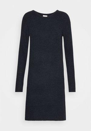VISURIL O-NECK DRESS - Stickad klänning - navy blazer/melange