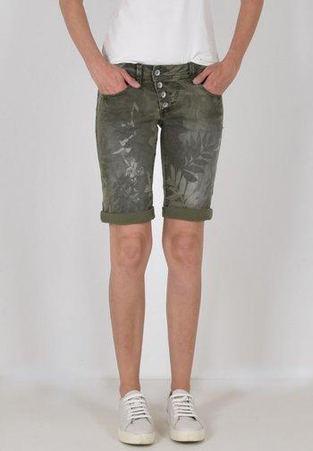 MALIBU - Denim shorts - olive leaves