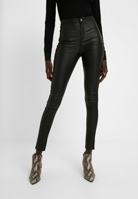Missguided Tall - HIGH WAISTED COATED - Stoffhose - black - 0