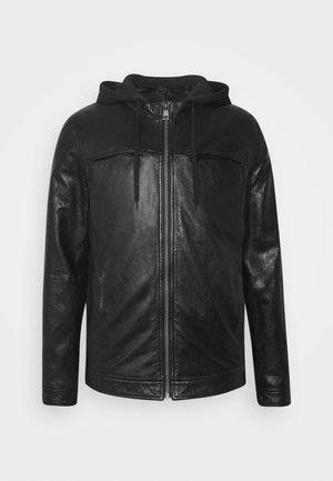STEADY - Kožená bunda - black