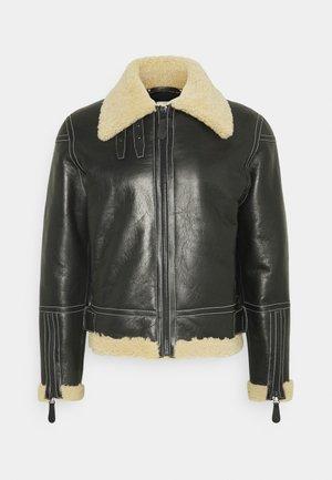 GENTS LEATHER SHORT SHEARLING JACKET - Leather jacket - black