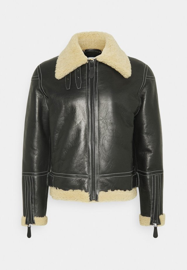 GENTS LEATHER SHORT SHEARLING JACKET - Chaqueta de cuero - black