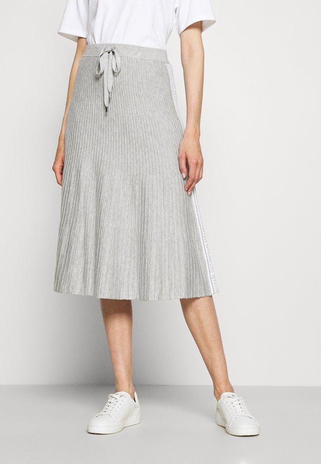 LOGO TAPE MIDI SKIRT - A-line skirt - pearl heather
