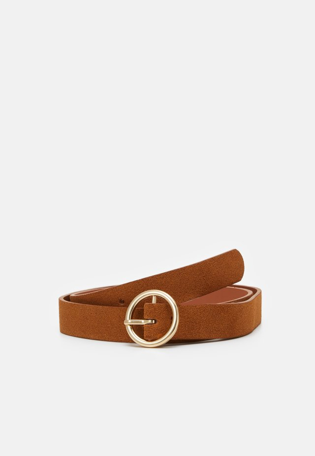 PCBONNA JEANS BELT - Pasek - cognac/gold-coloured