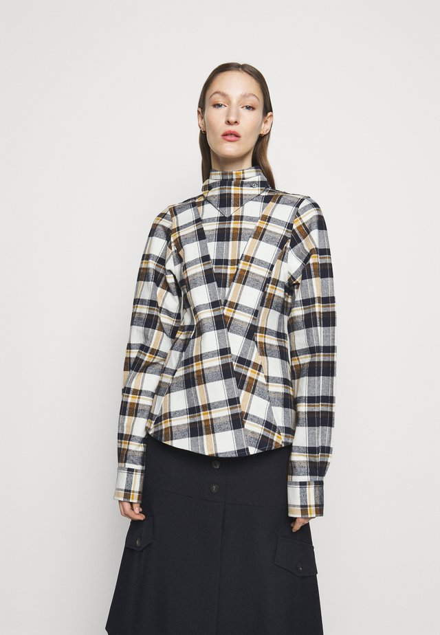 LONG SLEEVE PANELLED - Camisa - off white/navy