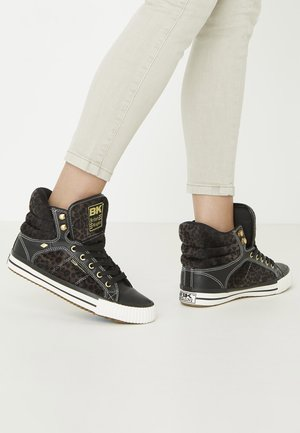ATOLL - Sneakersy wysokie - dk grey leopard/black