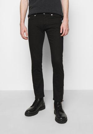 WASHED SLIM WITH ZIPPER DETAIL ON THE BOTTOM - Džíny Slim Fit - black