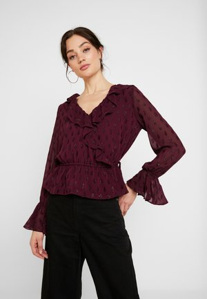 RUFFLE WRAP - Blouse - burgandy