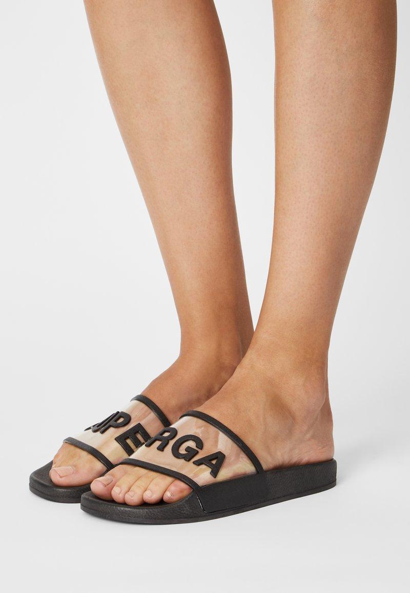 Superga - 1908 SLIDES CLEAR IDENTITY - Pantofle - black