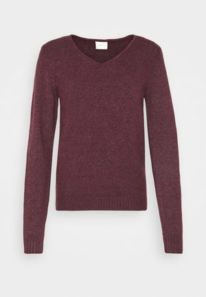 VIRIL VNECK - Jumper - winetasting melange