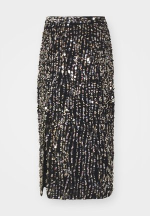 ZIA SKIRT - Pencil skirt - black/gold/silver-coloured