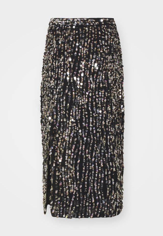 ZIA SKIRT - Jupe crayon - black/gold/silver-coloured