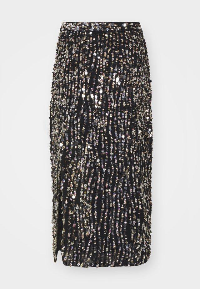 ZIA SKIRT - Pencil skirt - black/gold/silver-coloured