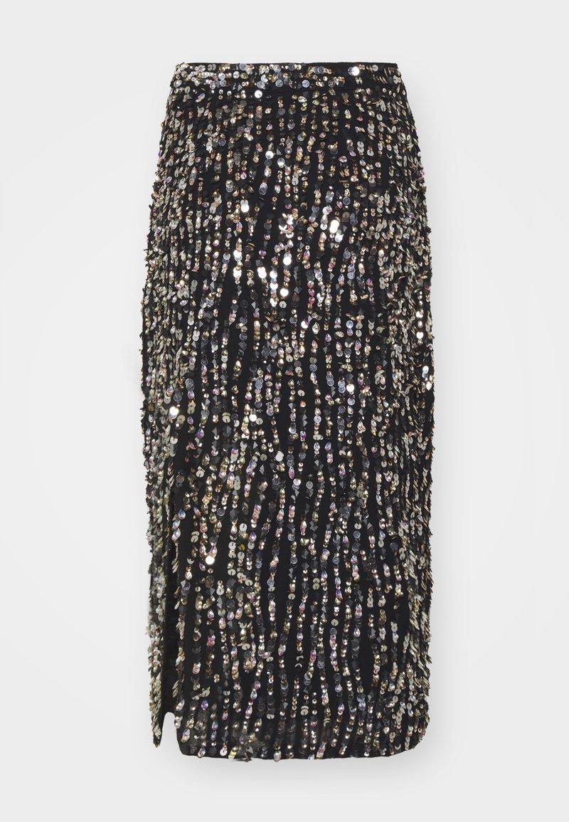 MANÉ - ZIA SKIRT - Pencil skirt - black/gold/silver-coloured