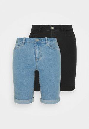 ONLSUN ANNEKMIDLONG 2 PACK - Denim shorts - light blue denim