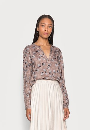 LASIA TILLY BLOUSE - Bluzka z długim rękawem - taupe grey / black