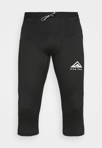 TRAIL 3/4 - Legging - black/dark smoke grey/white
