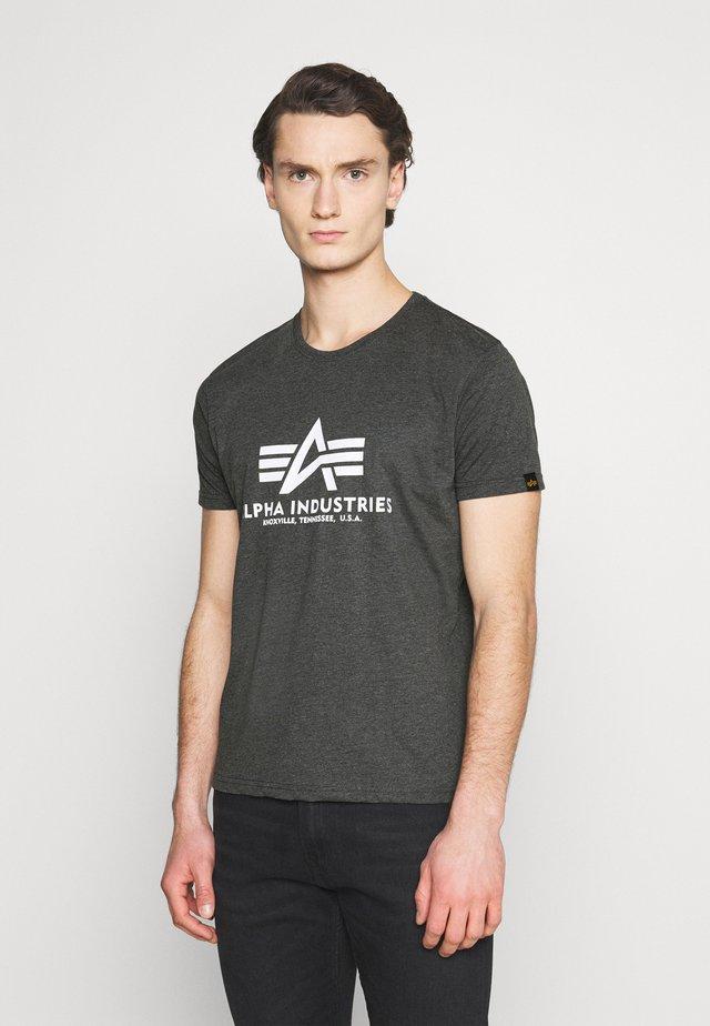 Print T-shirt - charcoal heather/white