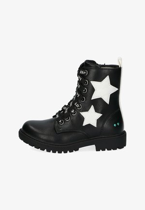 Lace-up ankle boots - black/white