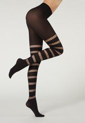 Tights - schwarz - black openwork stripes