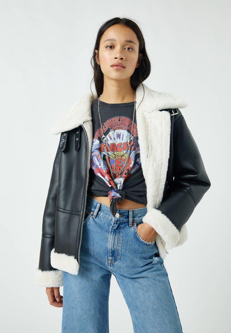 PULL&BEAR - Faux leather jacket - mottled black