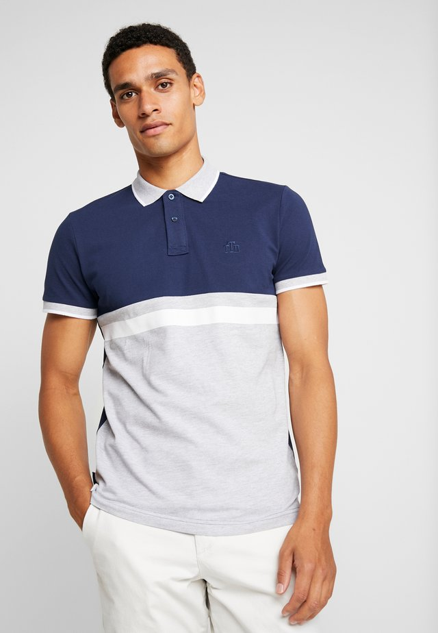 COLOUR BLOCK - Polo - light stone grey melange