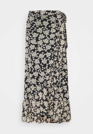 BOBO FRILL SKIRT - A-line skirt - black/oatmeal