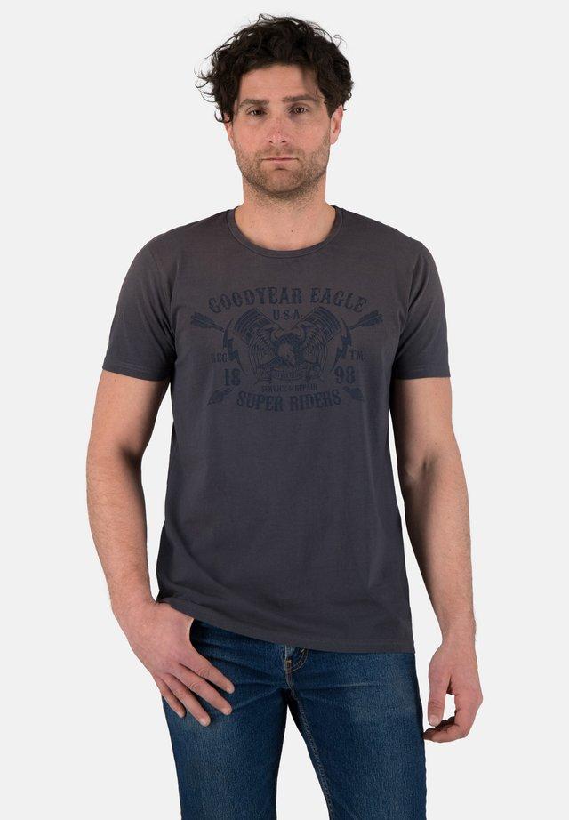 Print T-shirt - dirty anthra