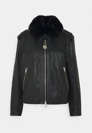 L-LIV JACKET - Leather jacket - black