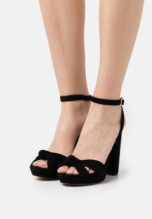 LEATHER - Højhælede sandaletter / Højhælede sandaler - black