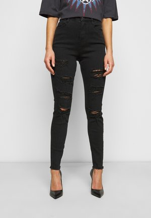 SINNER HIGHWAISTED EXTREME RIP - Skinny džíny - black