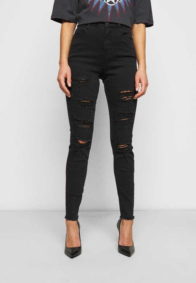 SINNER HIGHWAISTED EXTREME RIP - Jeansy Skinny Fit - black