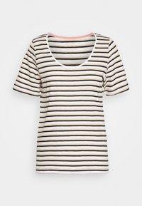 SLFHANNAH STRIPE TEE - Print T-shirt - snow white/black