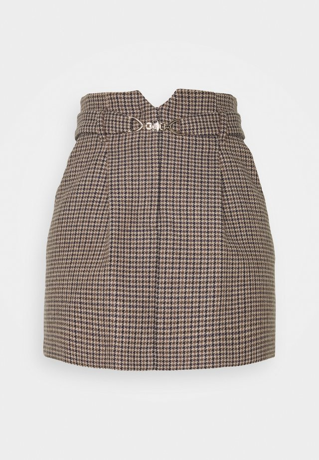 JELING - Mini skirt - bleu/ecru