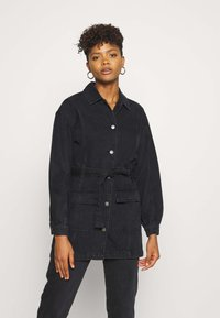 JDY - JDYSANSA BELTED JACKET  - Short coat - black denim - 0