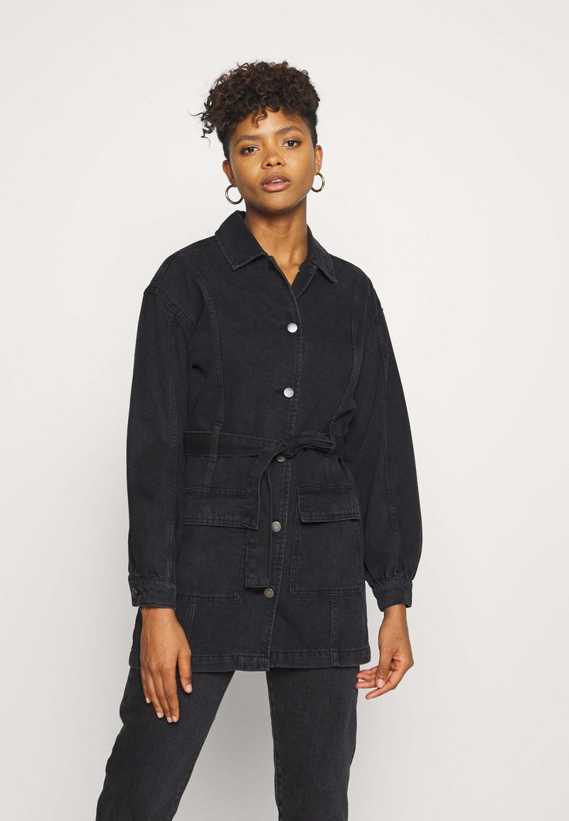 JDY - JDYSANSA BELTED JACKET  - Short coat - black denim