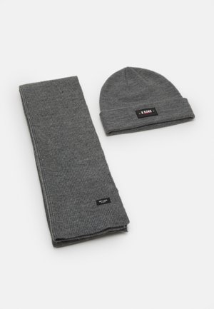 ONSEVAN BOX BEANIE SCARF SET - Szal - medium grey melange