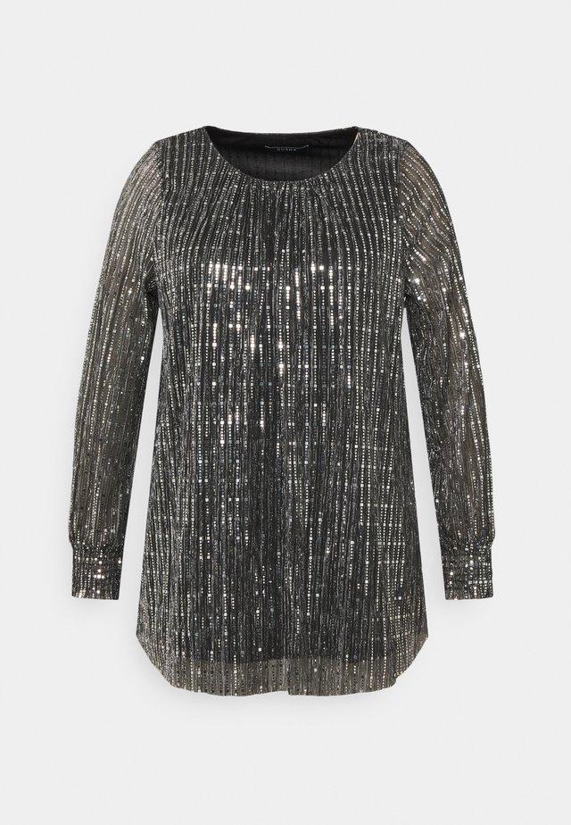 SEQUIN SHIRRED CUFF - Camiseta de manga larga - black