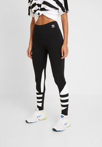 adidas Originals - LARGE LOGO ADICOLOR LARGE LOGO TIGHT TIGHTS - Leggings - Trousers - black/white - 0